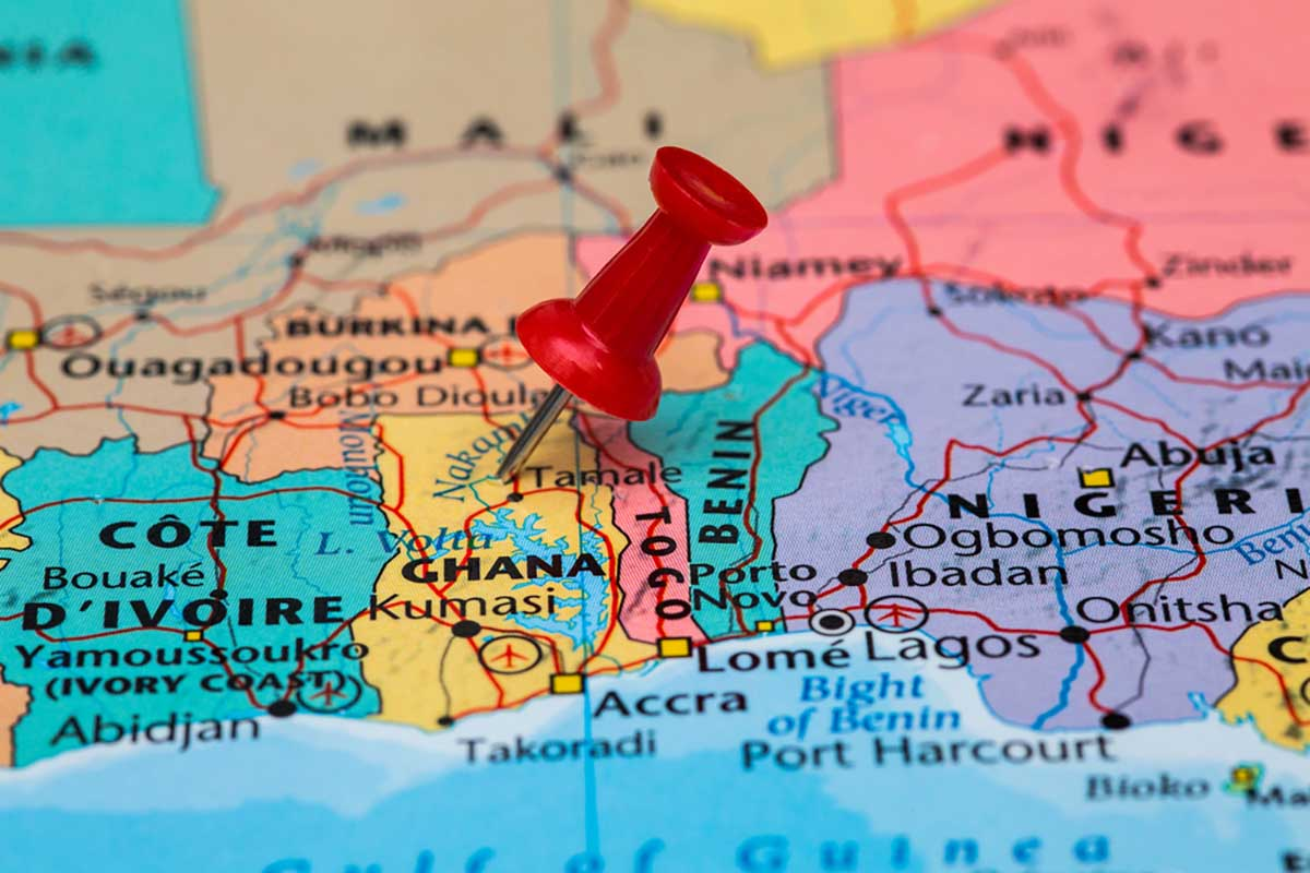 Map with a pin in Ghana.