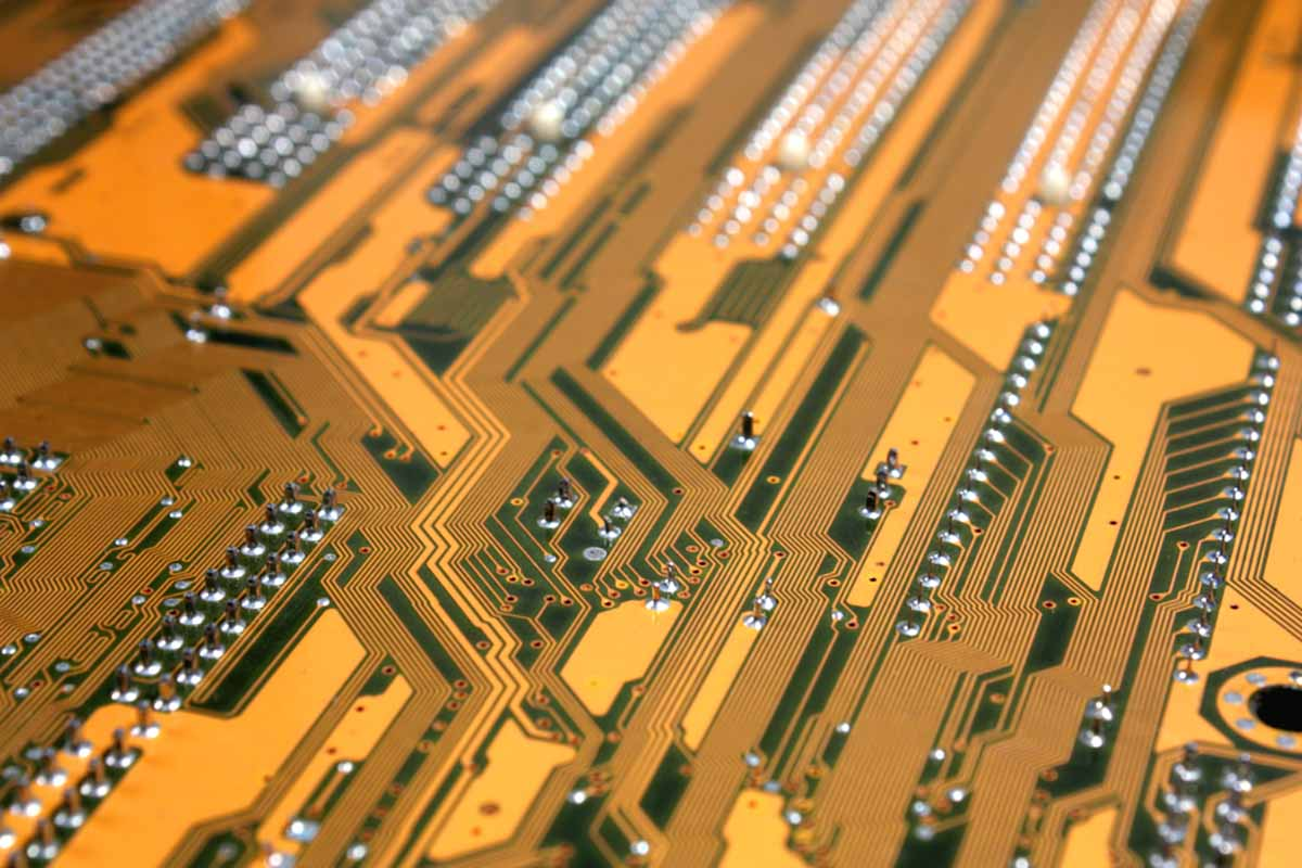 Close-up view of circuit board paths.