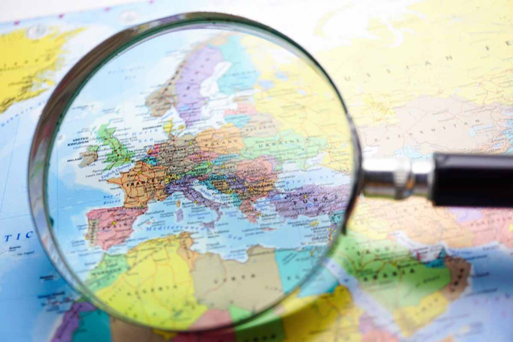 Map of Europe under a magnifying glass.