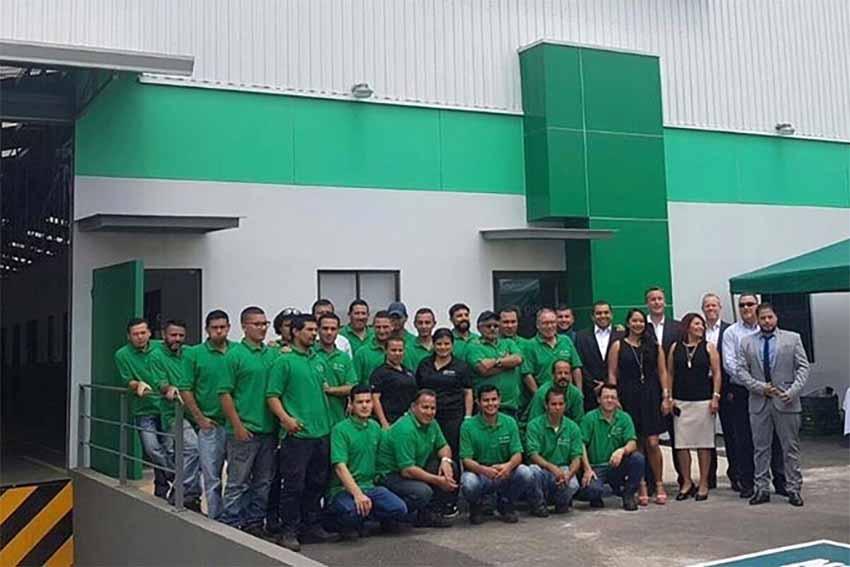 Quantum team outside the company facility in Costa Rica.