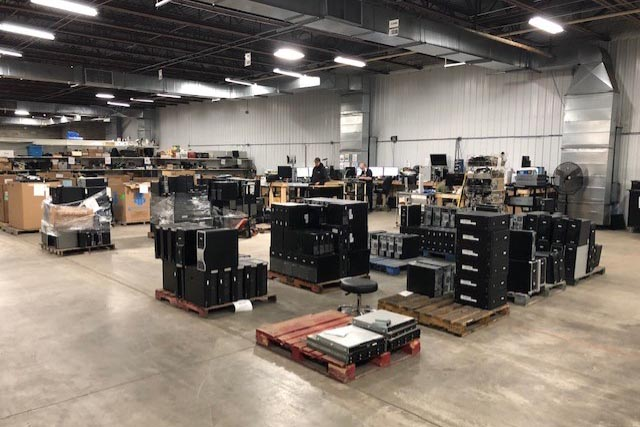 Inside the Infinite Electronics Recycling warehouse.
