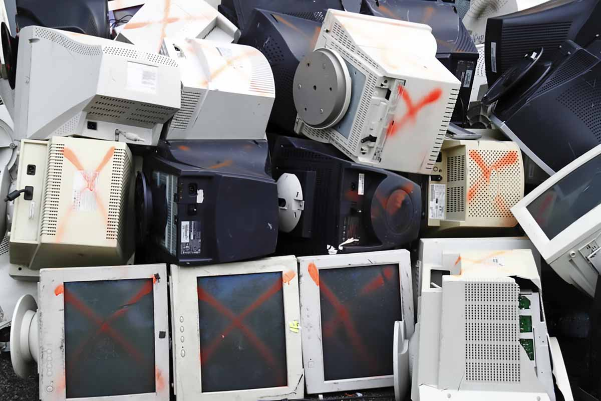 CRTs collected for processing.