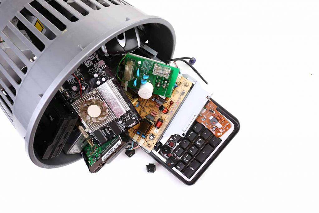 E-scrap in a waste basket.