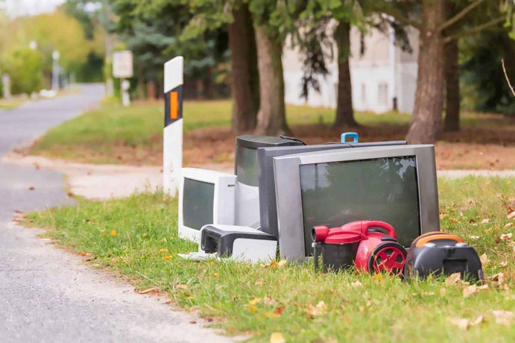 E-scrap in a residential yard.
