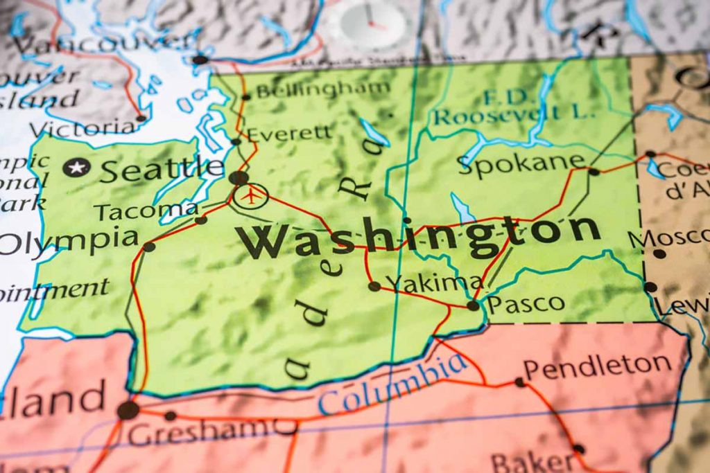Map showing Washington state.