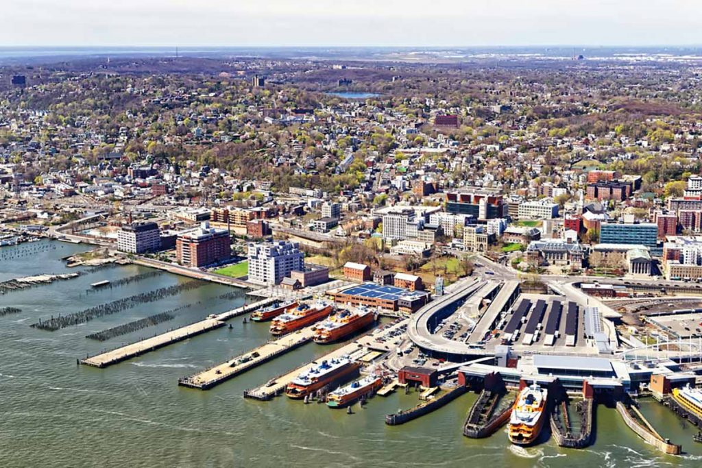 Aerial view of Staten Island ferry terminal and surrounding area.
