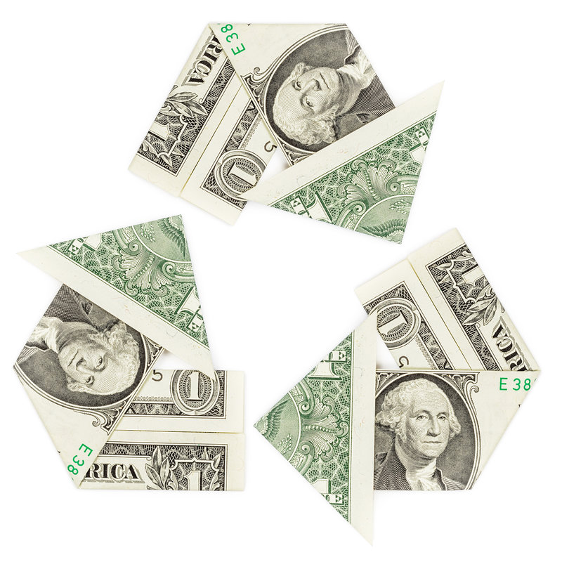 recycled money / Martina_L, Shutterstock