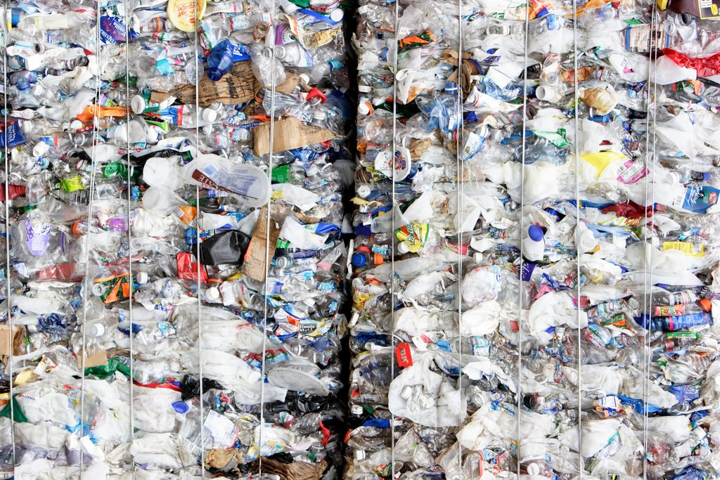 Bales of plastic materials for recycling.