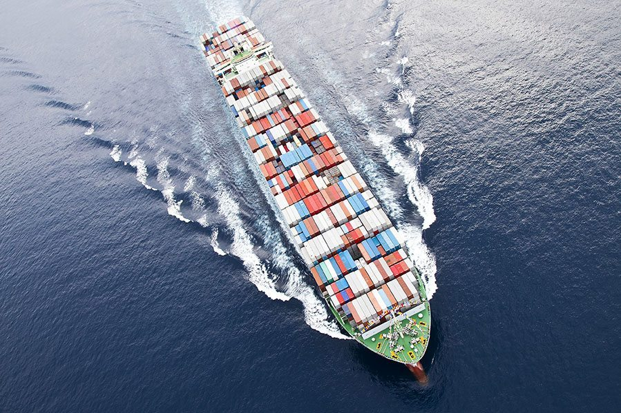 Shipping vessel from above