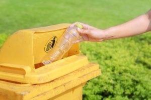 Bottle in recycling bin