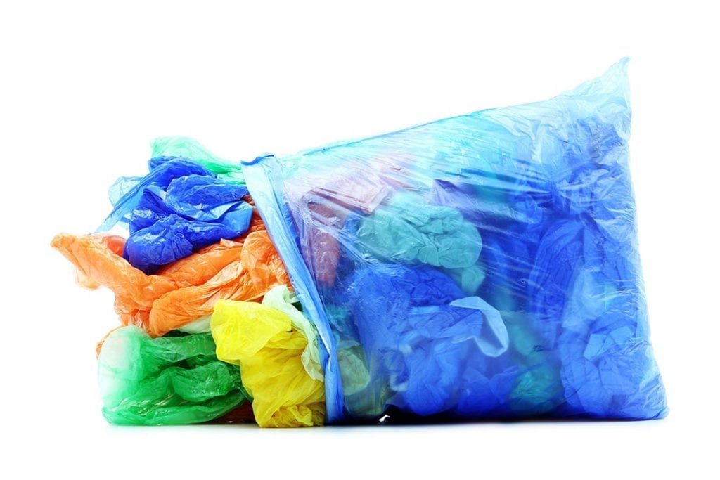 Plastic bags for recycling.