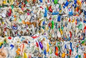 Bales of mixed plastics.