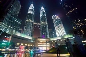 Street in Kuala Lumpur, Malaysia at night.