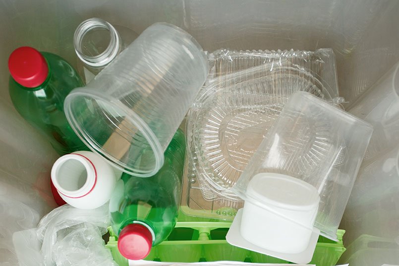 Various plastics in a bag for recycling.