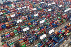 Containers stacked at the Kwai Tsing port in Hong Kong.