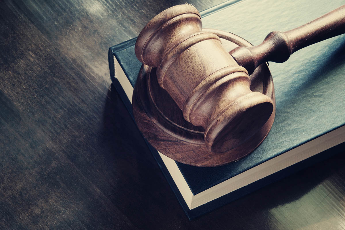 Court gavel resting on a book.