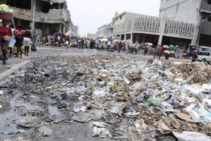 Plastic waste on a street in Port-au-Prince, Haiti.