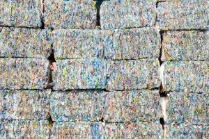 Stacked bales of PET for recycling.