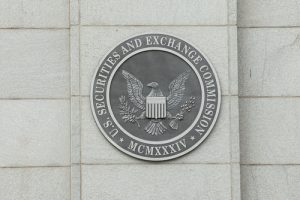 Seal of the U.S. SEC on building exterior.