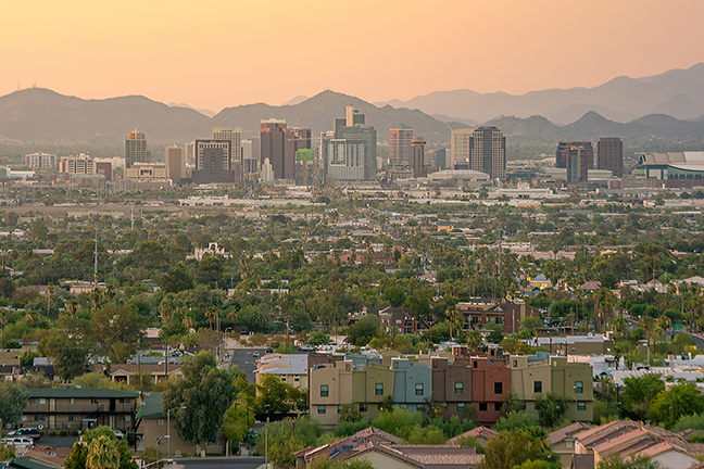 Phoenix skyline at sunset.