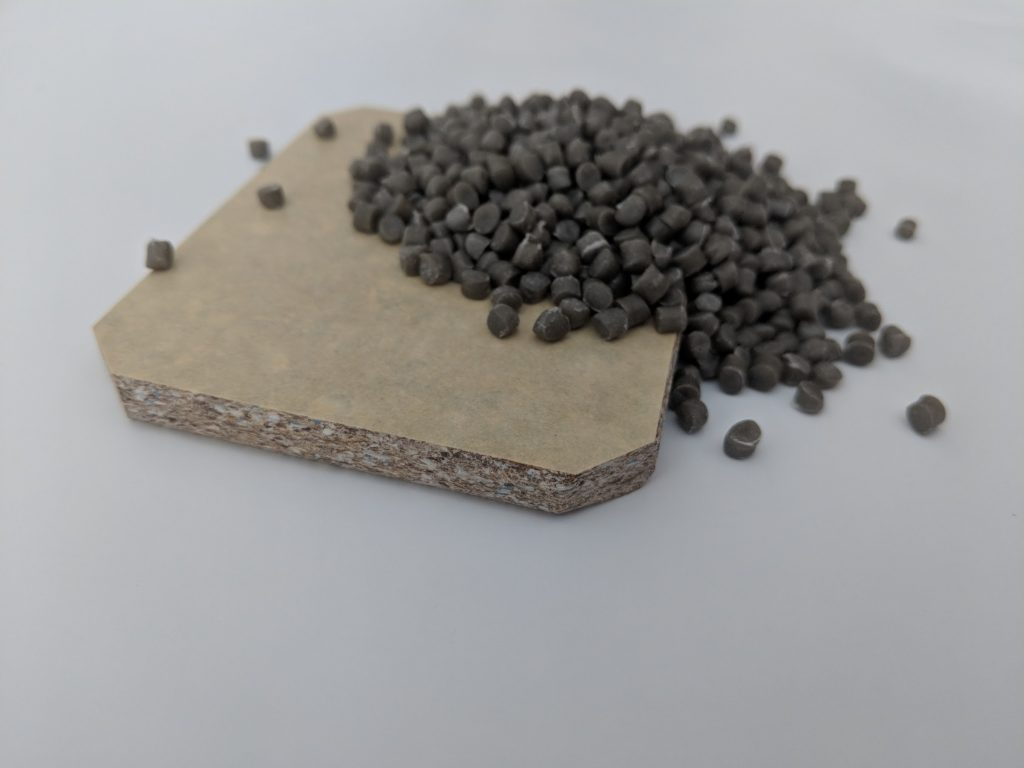 Plastic pellets produced by GFS recycling process.