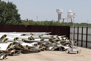 Wind turbine blades for recycling at GFS.