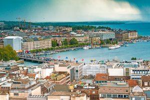 Scene of Geneva, Switzerland with waterfront.