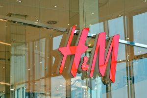 H&M sign on a retail store.