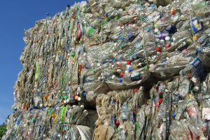 Bales of plastics for recycling.