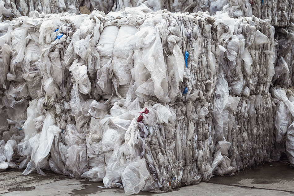 Bales of plastic films for recycling.