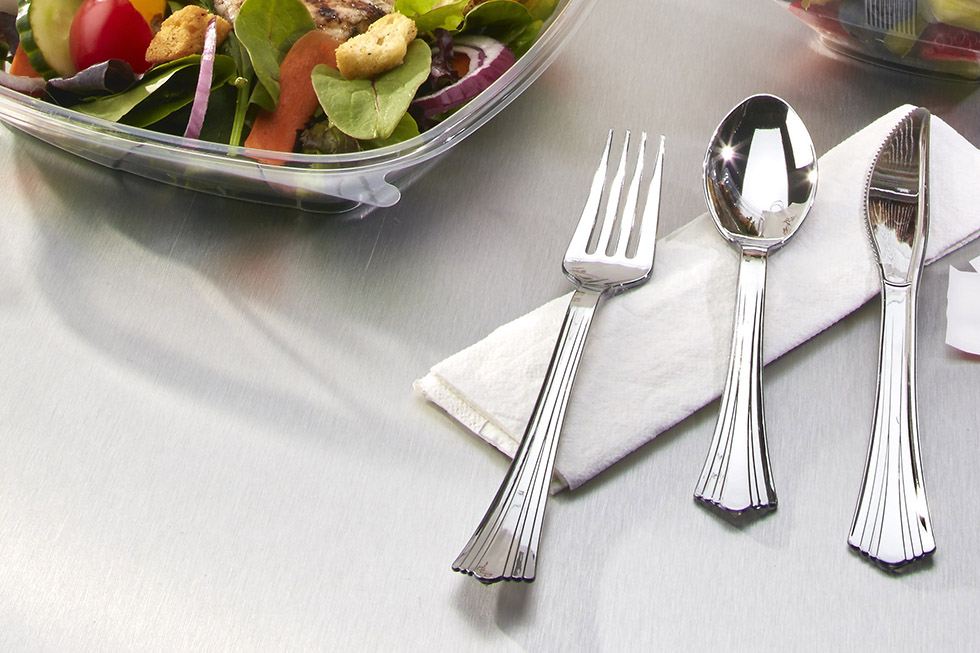 Novolex cutlery made with 20% post-consumer recycled content.