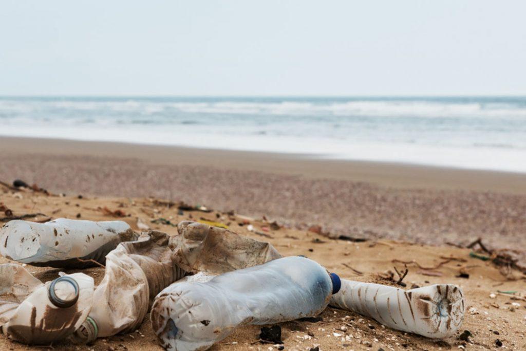 Plastic marine debris on an ocean beach.