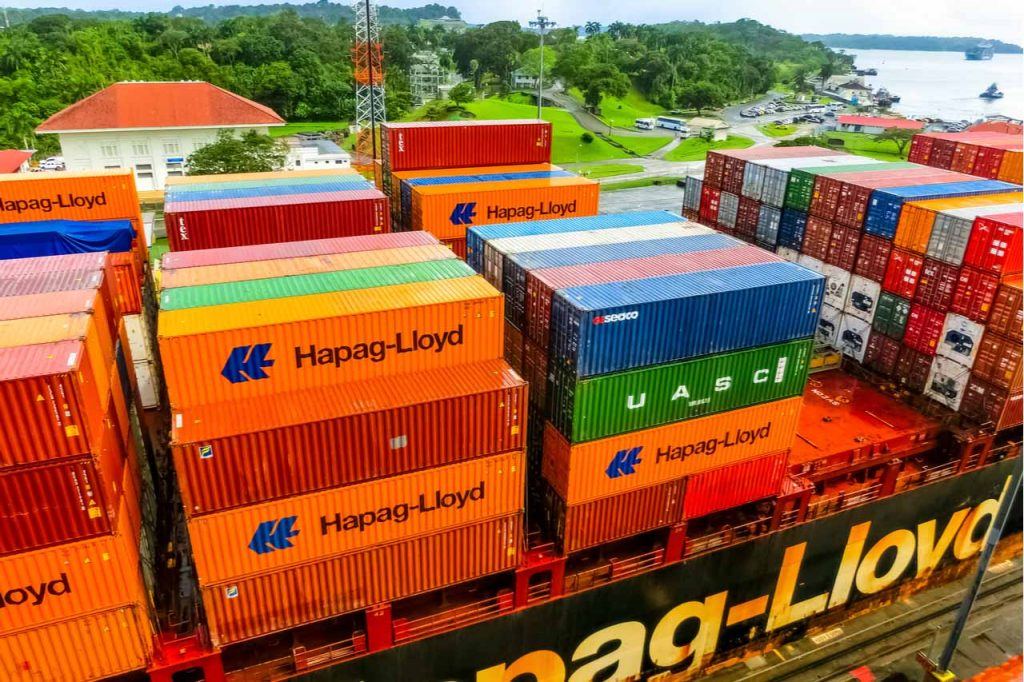 Hapag-Lloyd shipping vessel with cargo.