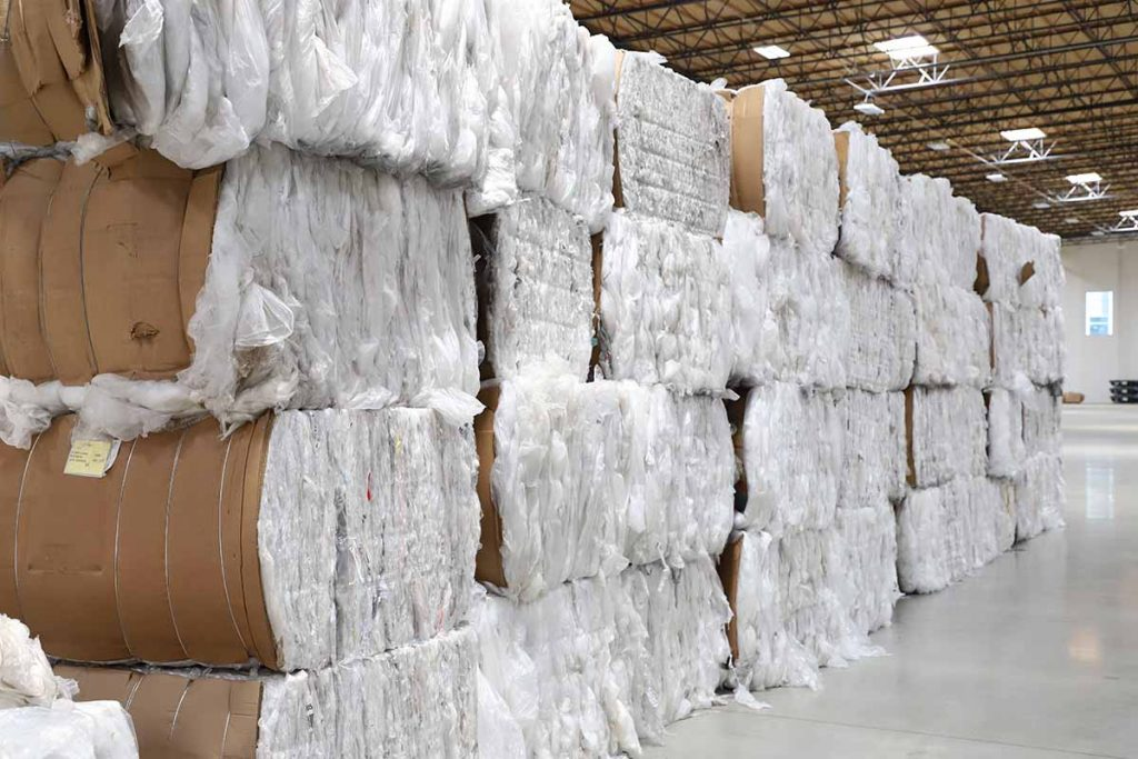 Baled plastics for recycling at the PreZero facility.