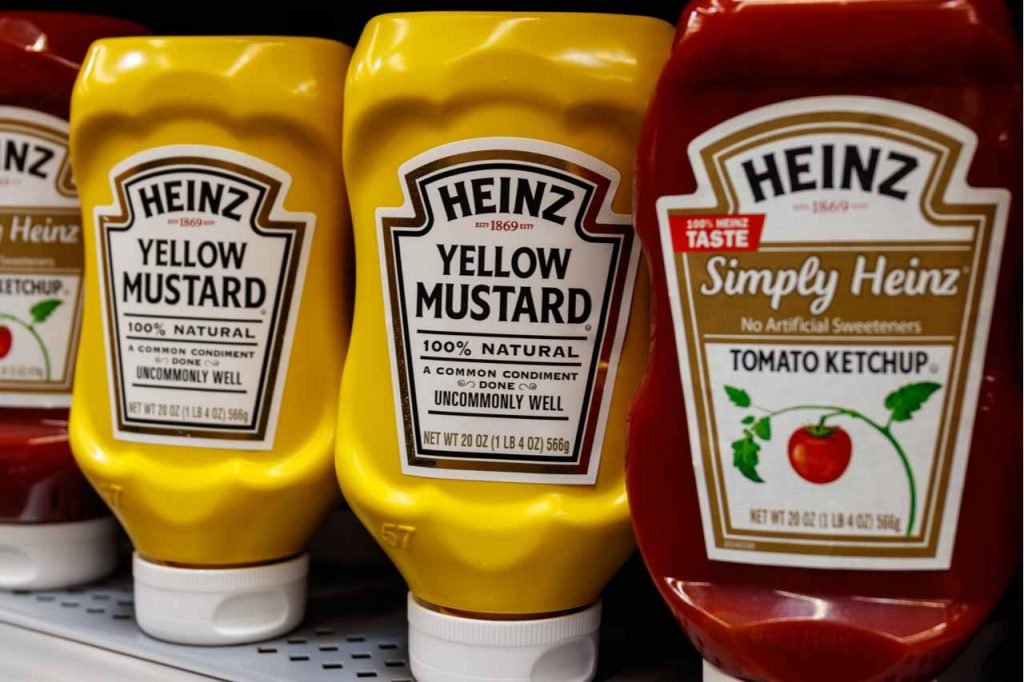 Heinz ketchup and mustard packaging.