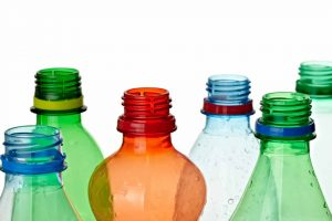 Empty plastic bottles for recycling.