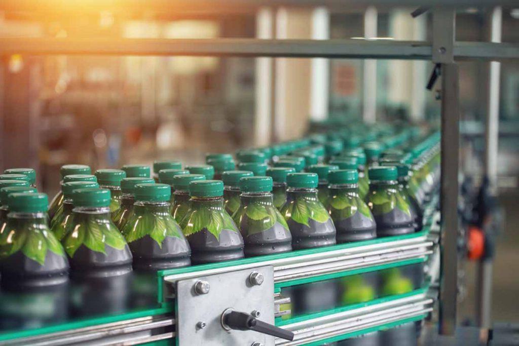 PET beverage bottles on the bottling line.