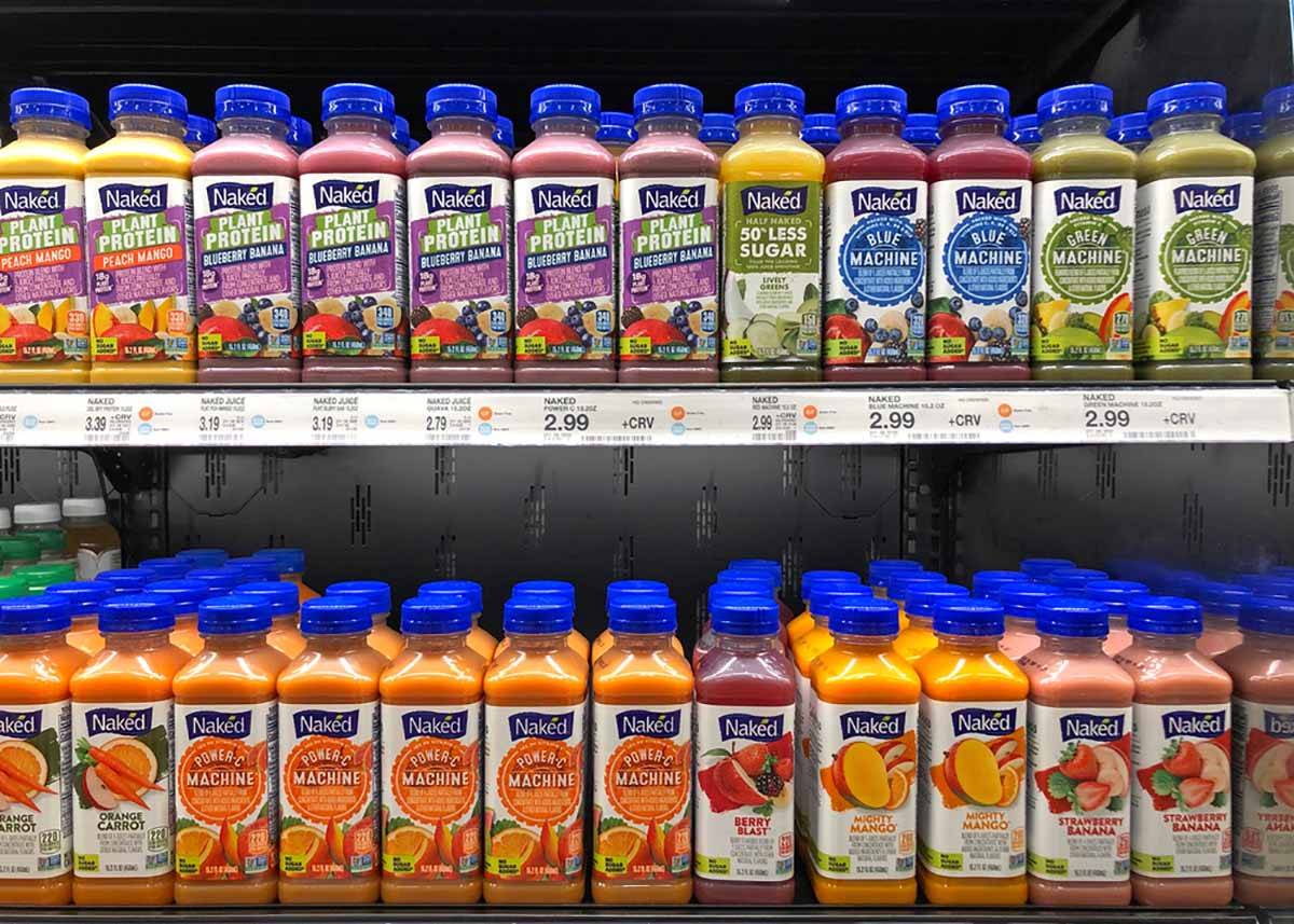 Shelf of PepsiCo juice products from the Naked Juice brand.