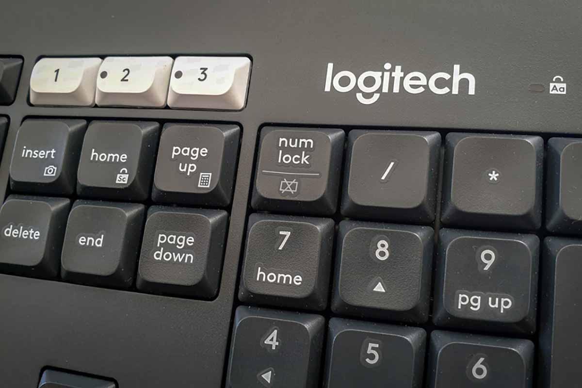 Closeup of a Logitech keyboard.