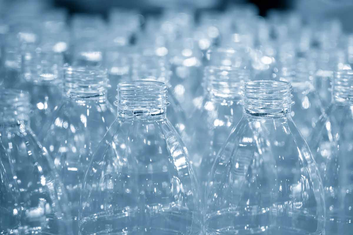 Closeup of empty PET bottles.