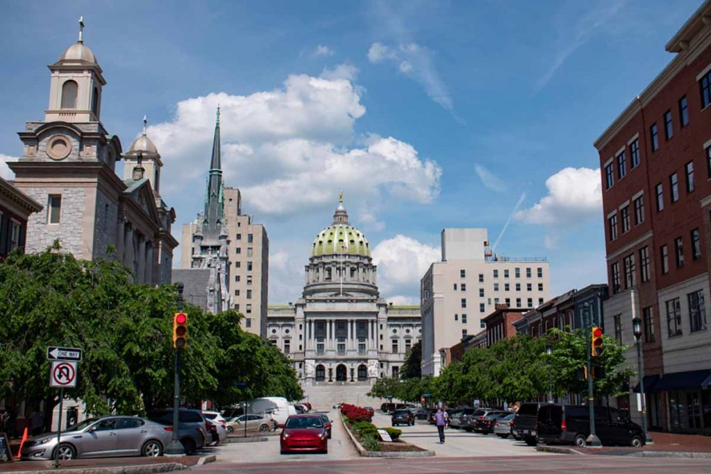 View of the Pennsylvania state capitol and surrounding buildings.
