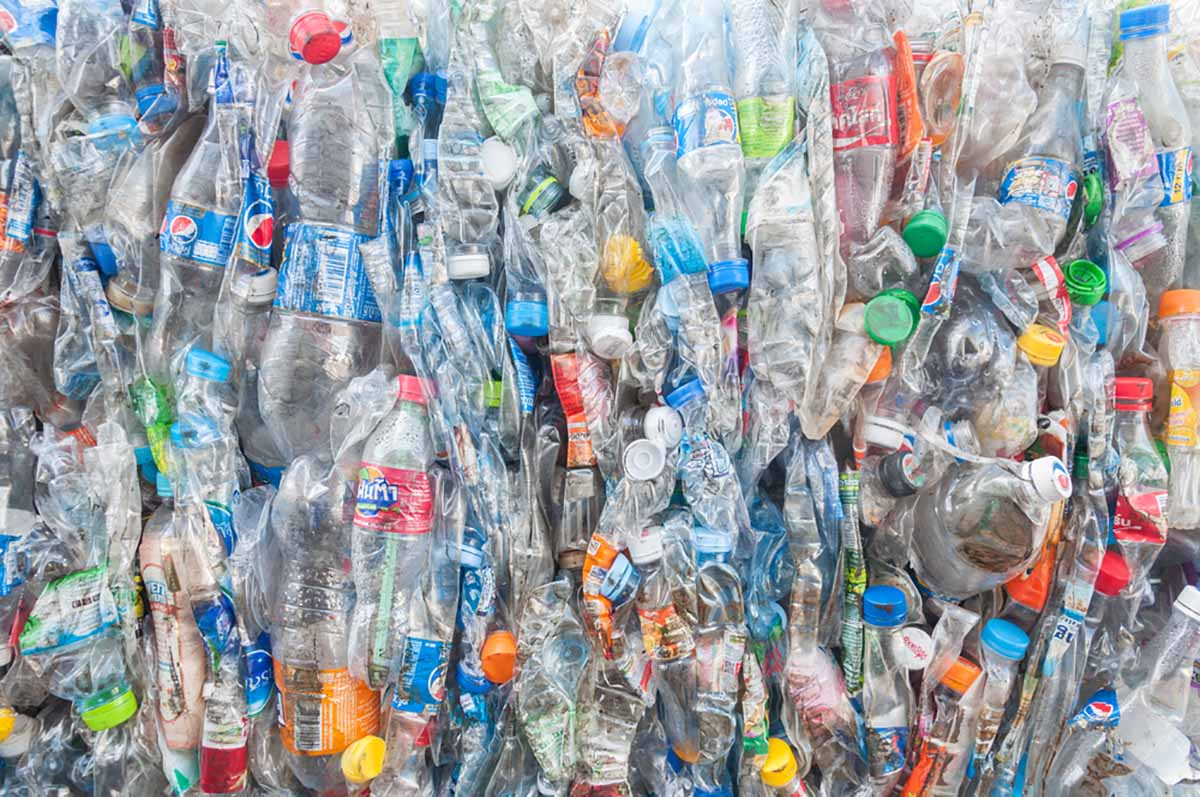 Closeup of baled plastic bottles.