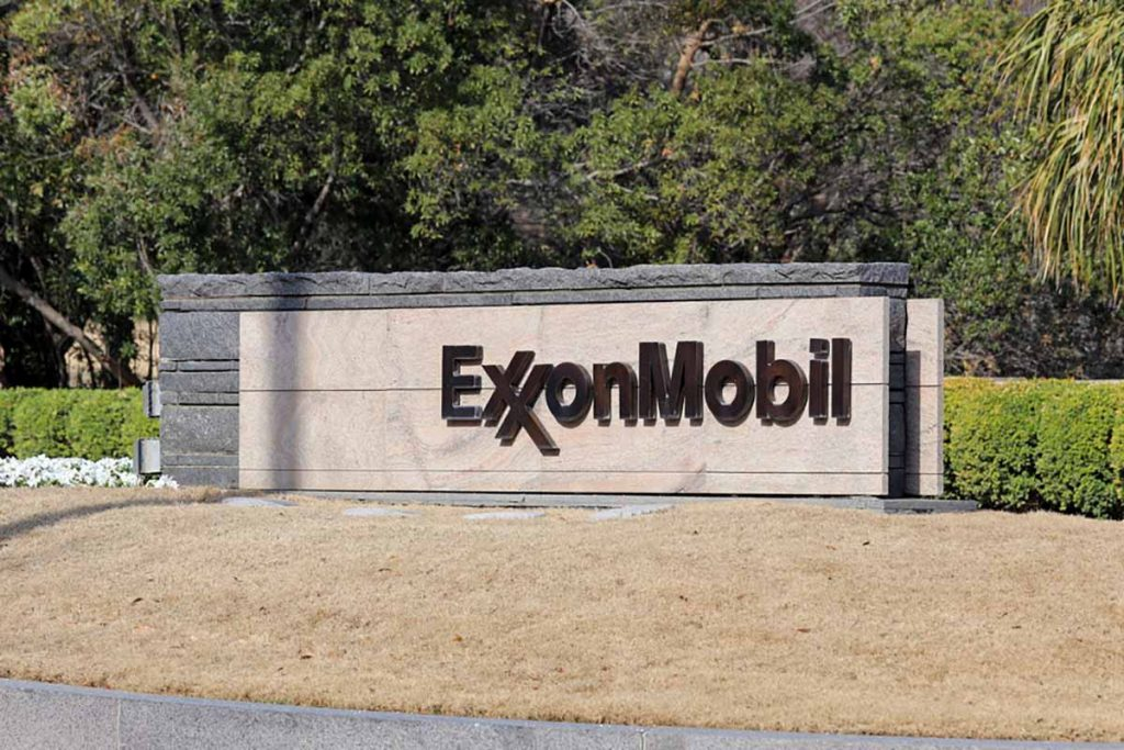 Exxon Mobil corporate sign and landscaping.