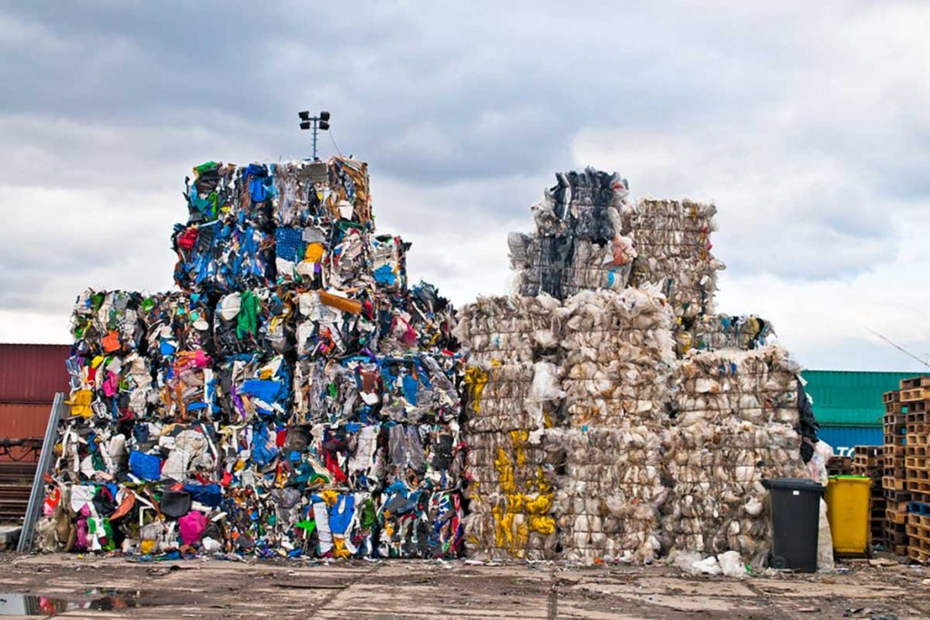 Bales of plastic for recycling.