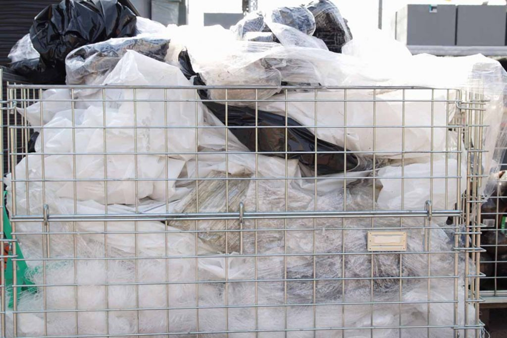 Plastic film collected for recycling.