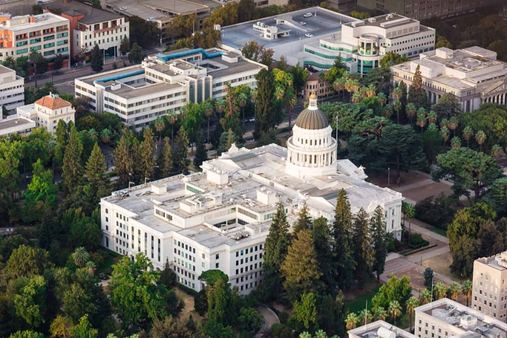 Aerial view of the California state capitol building in Sacramento.