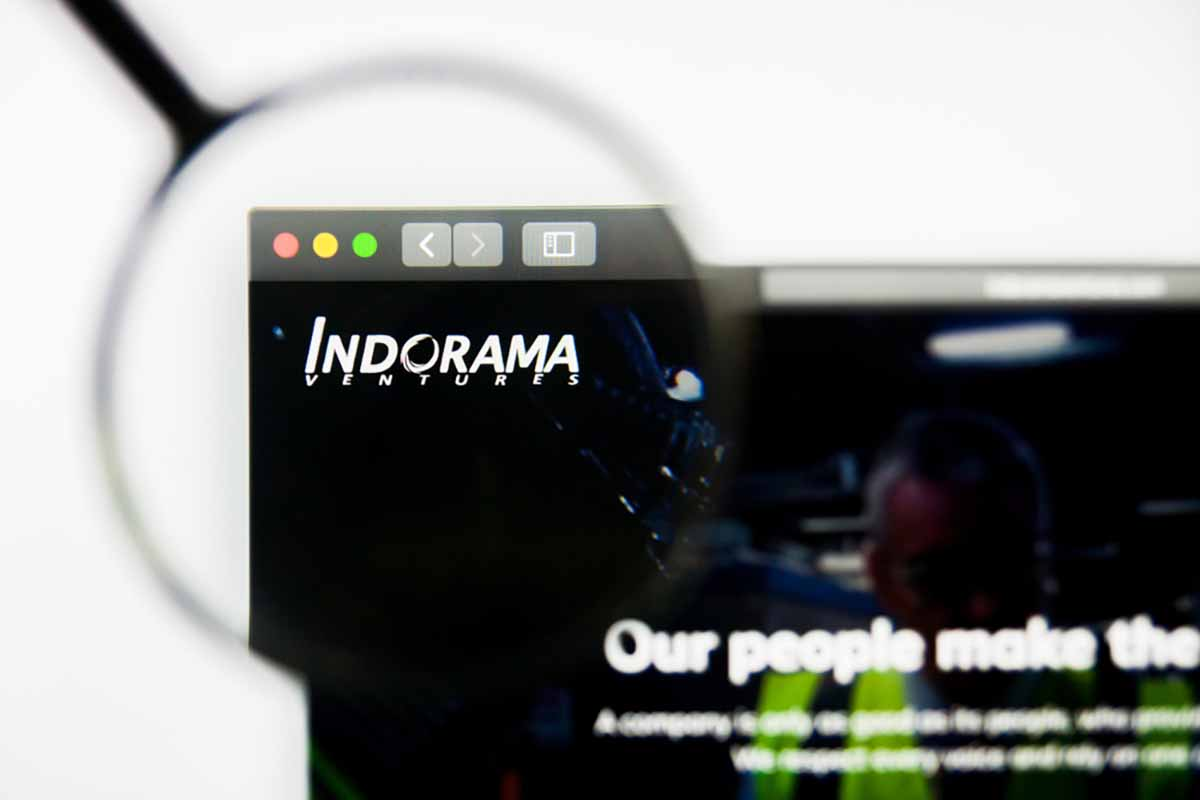 View of Indorama company website with magnifying glass.