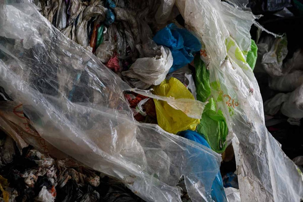 Baled plastic bags for recycling.