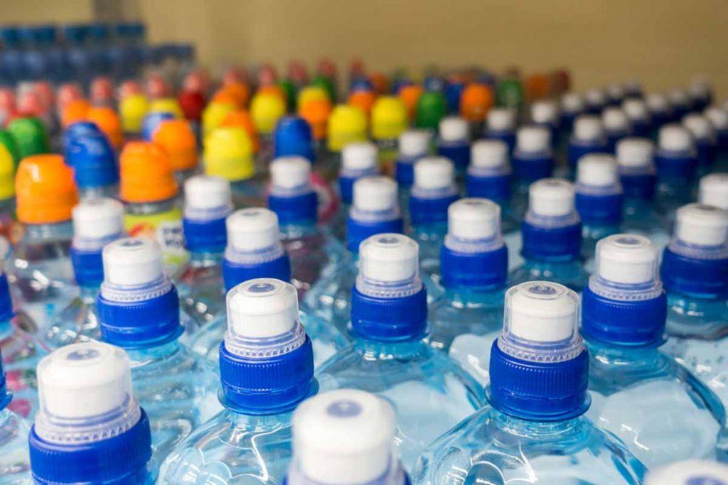 Plastic beverage bottles.