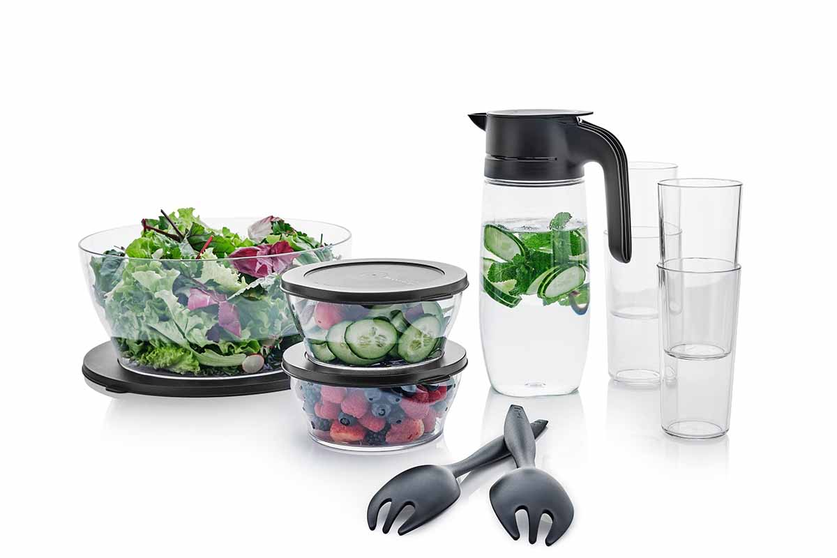 Selection of recycled-content plastic products from Tupperware Brands Corporation